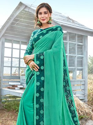 Georgette Satin Sea Green Classic Saree