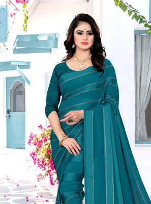 Georgette Satin Teal Bollywood Saree