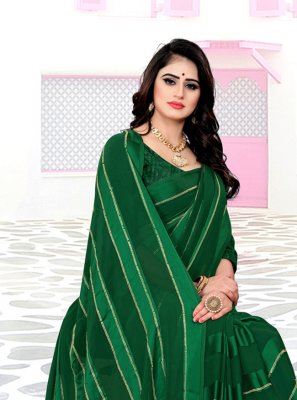 Georgette Satin Trendy Saree in Green