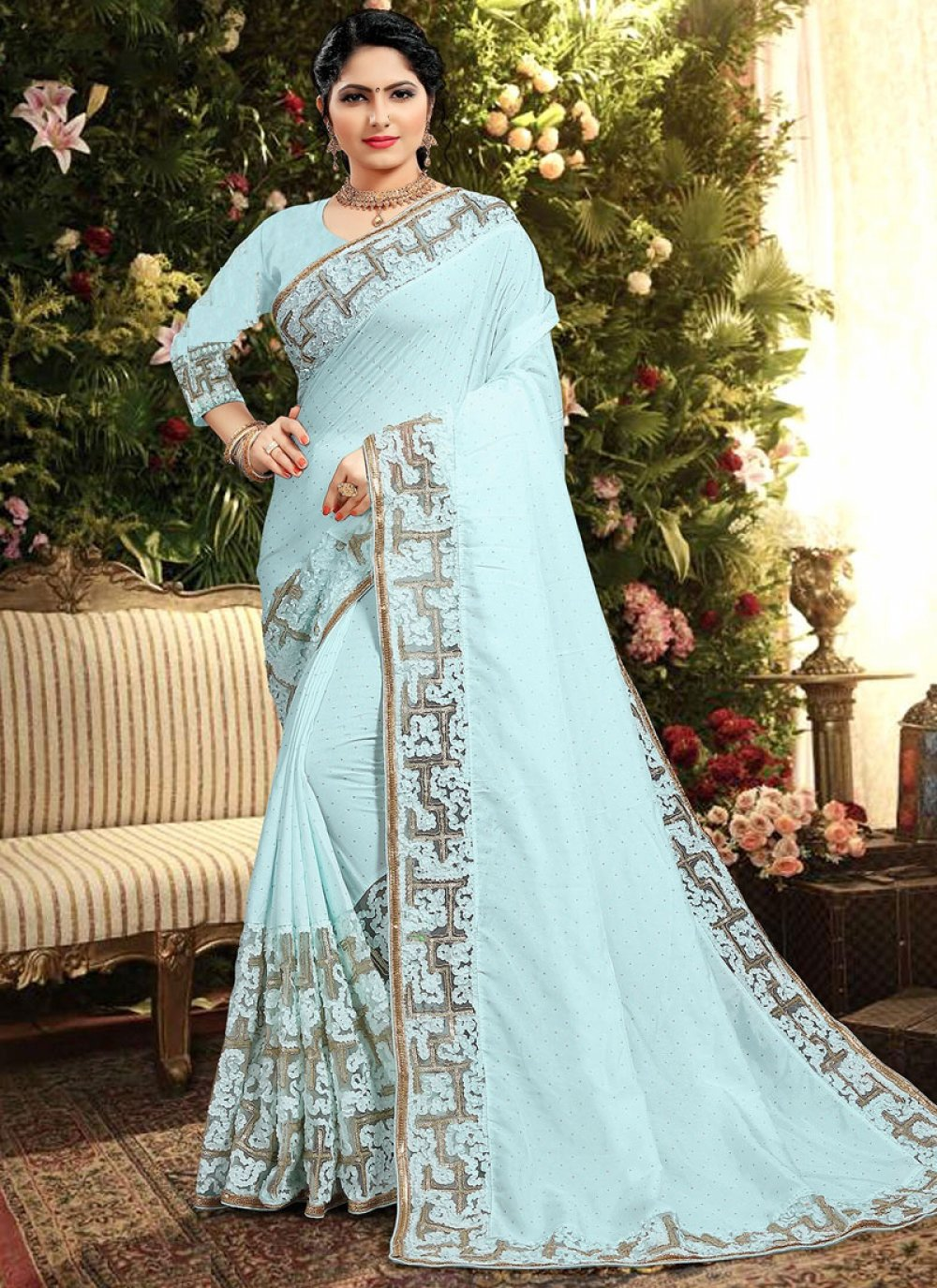 Georgette Satin Turquoise Classic Saree