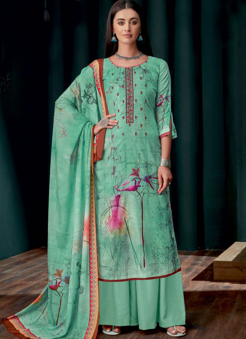 Georgette Sea Green Embroidered Designer Palazzo Suit