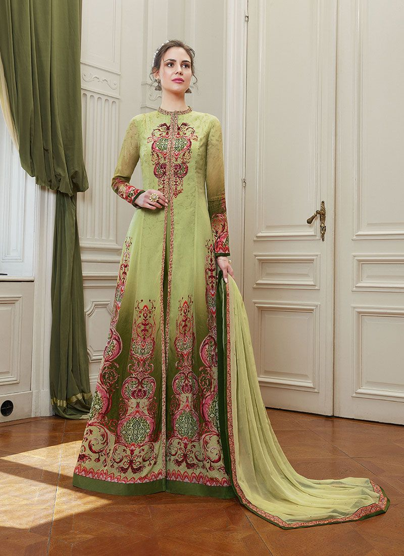 Georgette Stone Green Floor Length Suit