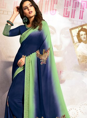 Georgette Stone Traditional Designer Saree in Blue and Green