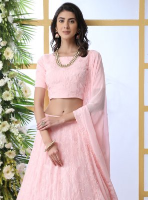 Georgette Thread Lehenga Choli in Pink