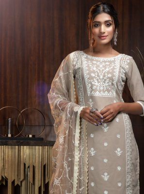 Georgette Trendy Suit in Beige