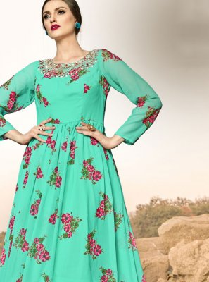 Georgette Turquoise Handwork Floor Length Gown