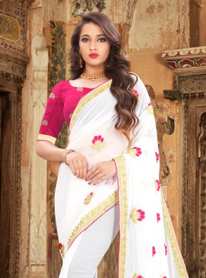 Georgette White Contemporary Saree
