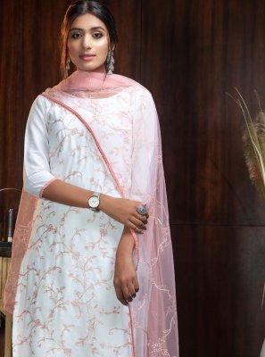 Georgette White Designer Suit