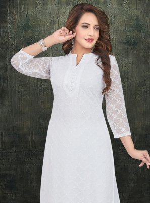 Georgette White Embroidered Salwar Kameez