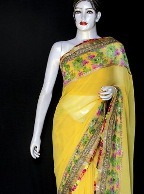 Georgette Yellow Designer Saree