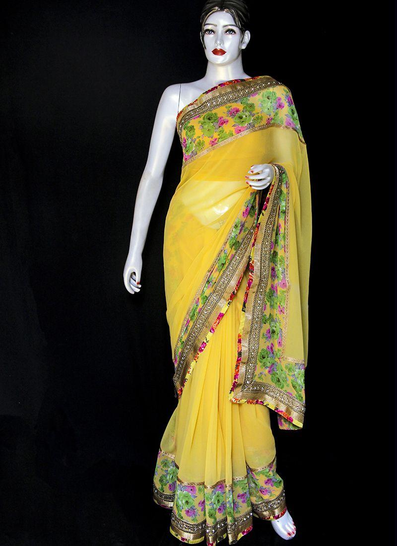 Georgette Yellow Designer Saree