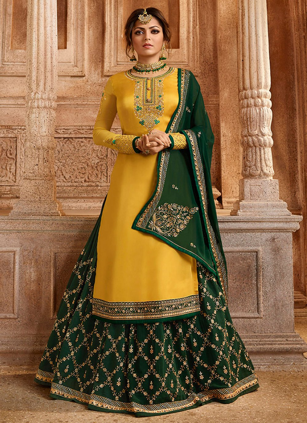Georgette Yellow Embroidered Palazzo Suit