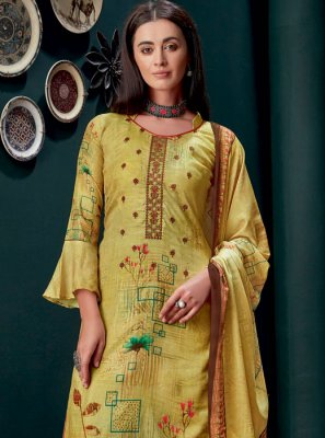 Georgette Yellow Salwar Suit