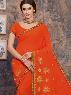 Georgette Zari Classic Designer Saree in Orange