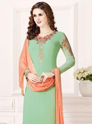 Georgette Zari Green Salwar Kameez