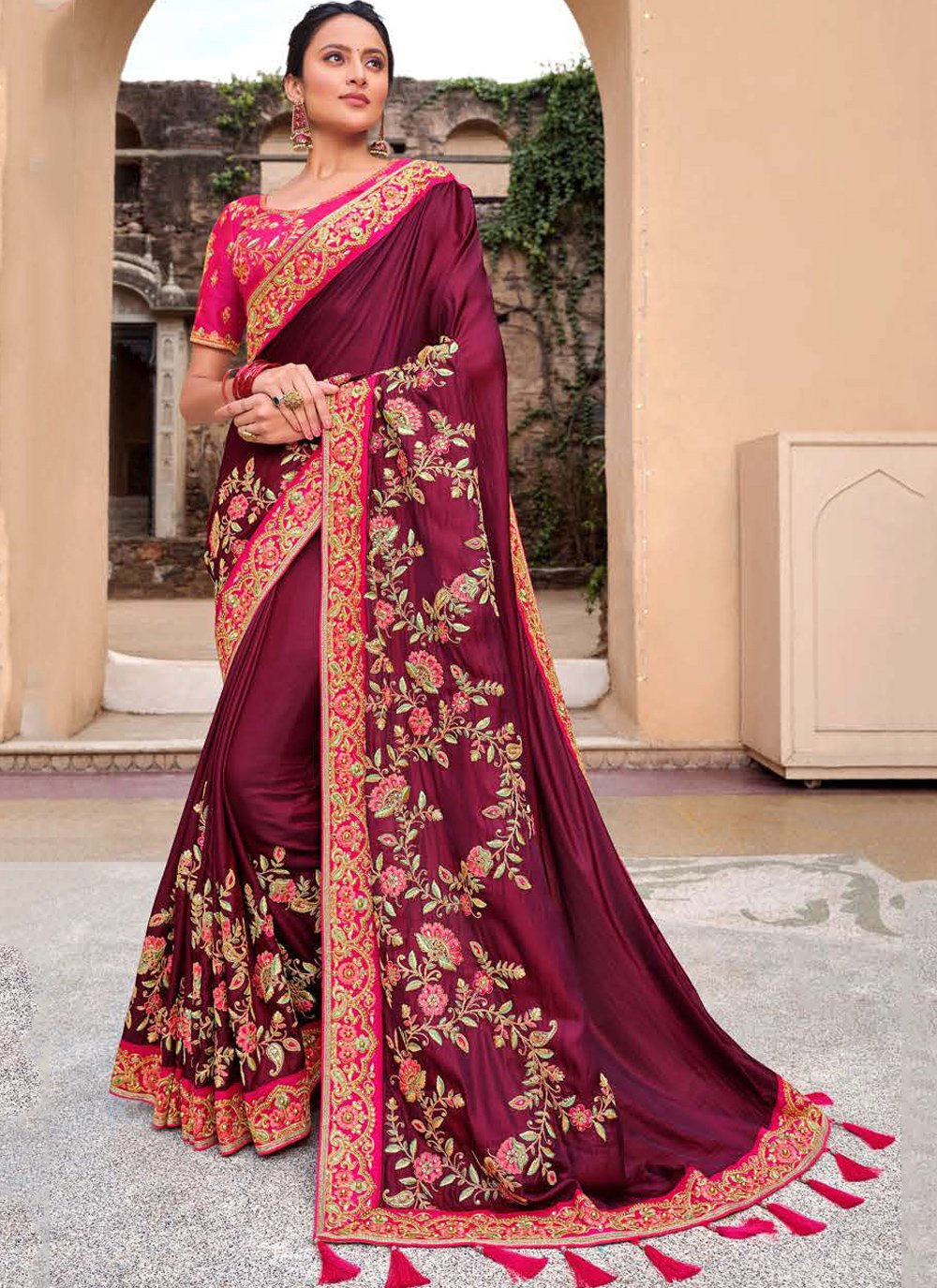 Georgette Zari Magenta Bollywood Saree