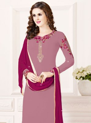 Georgette Zari Purple Designer Salwar Suit