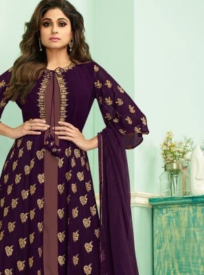 Georgette Zari Purple Salwar Suit