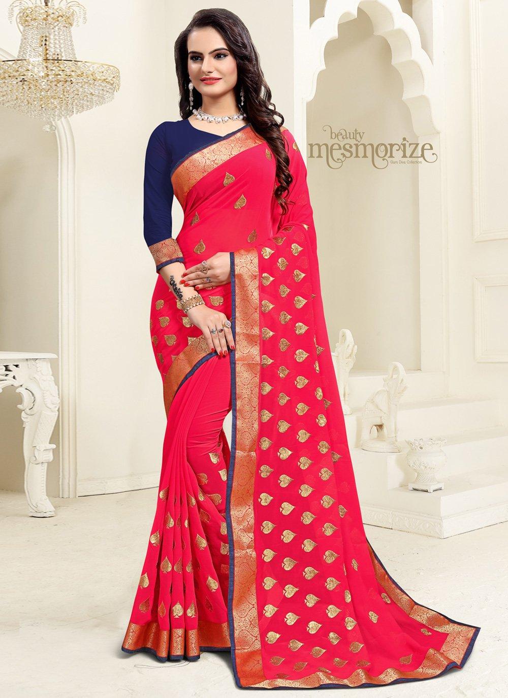 Georgette Zari Rani Designer Saree