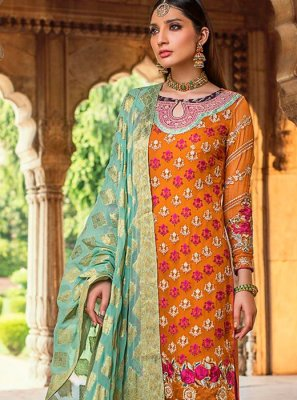 Georgette Zari Straight Salwar Kameez in Orange