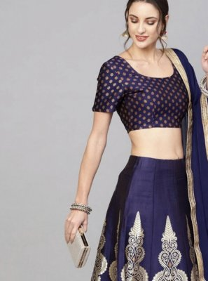Gold and Navy Blue Festival Readymade Lehenga Choli