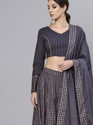 Gold and Navy Blue Printed Festival Readymade Lehenga Choli
