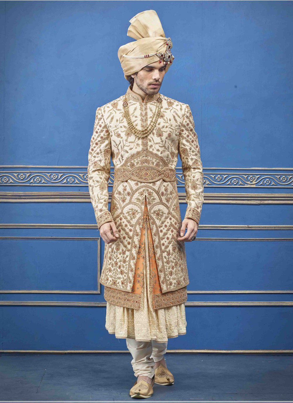 Gold and Rust Pure Silk Embroidered Sherwani