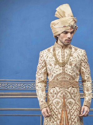 Gold and Rust Pure Silk Embroidered Sherwani