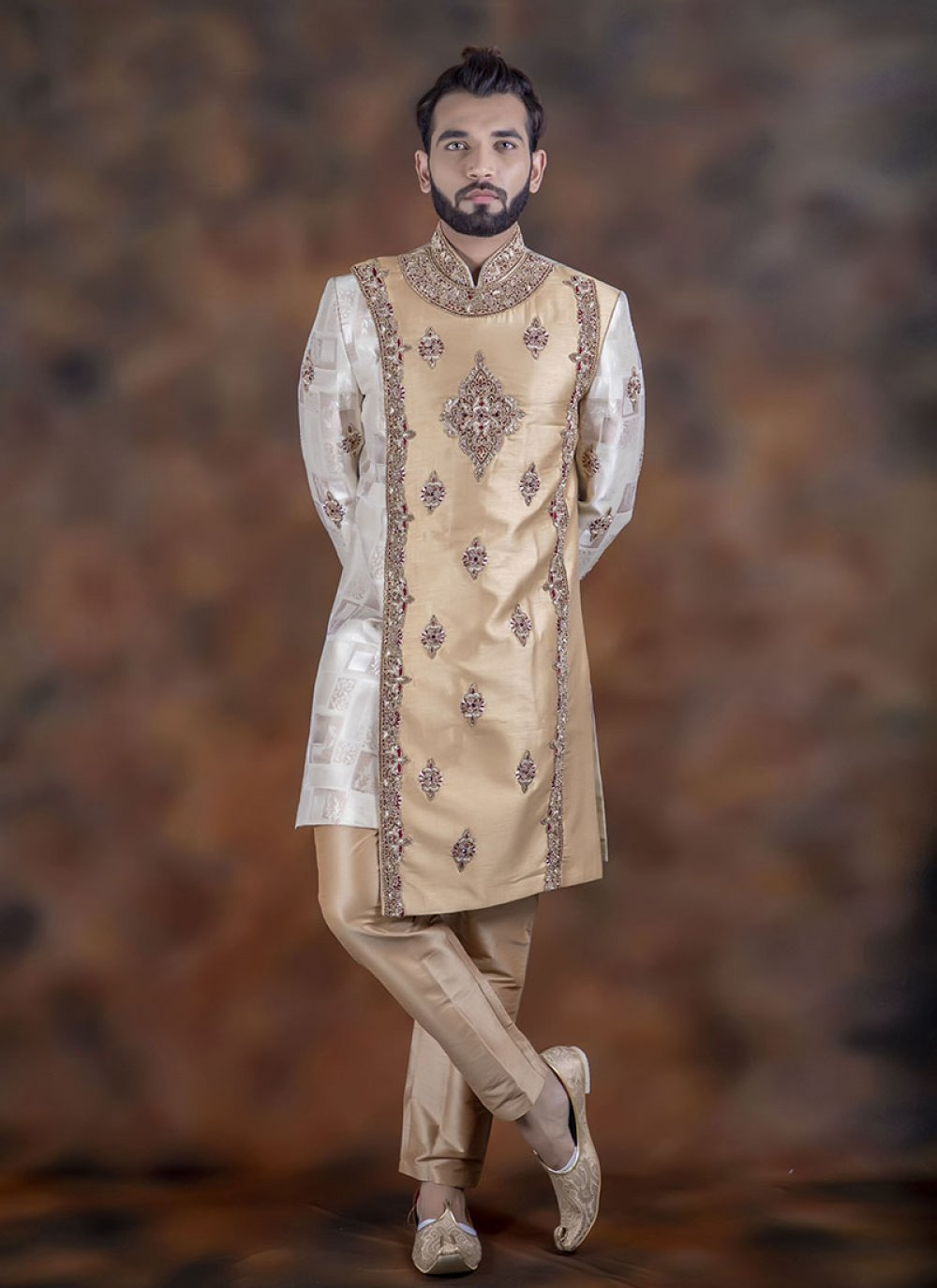 Gold and White Embroidered Jacquard Indo Western Sherwani