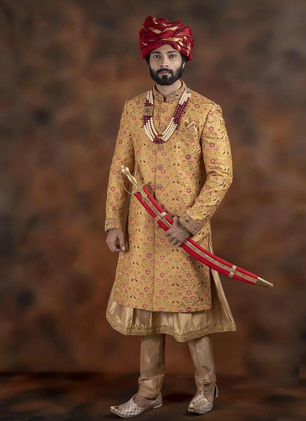 Gold and Yellow Wedding Jacquard Indo Western Sherwani