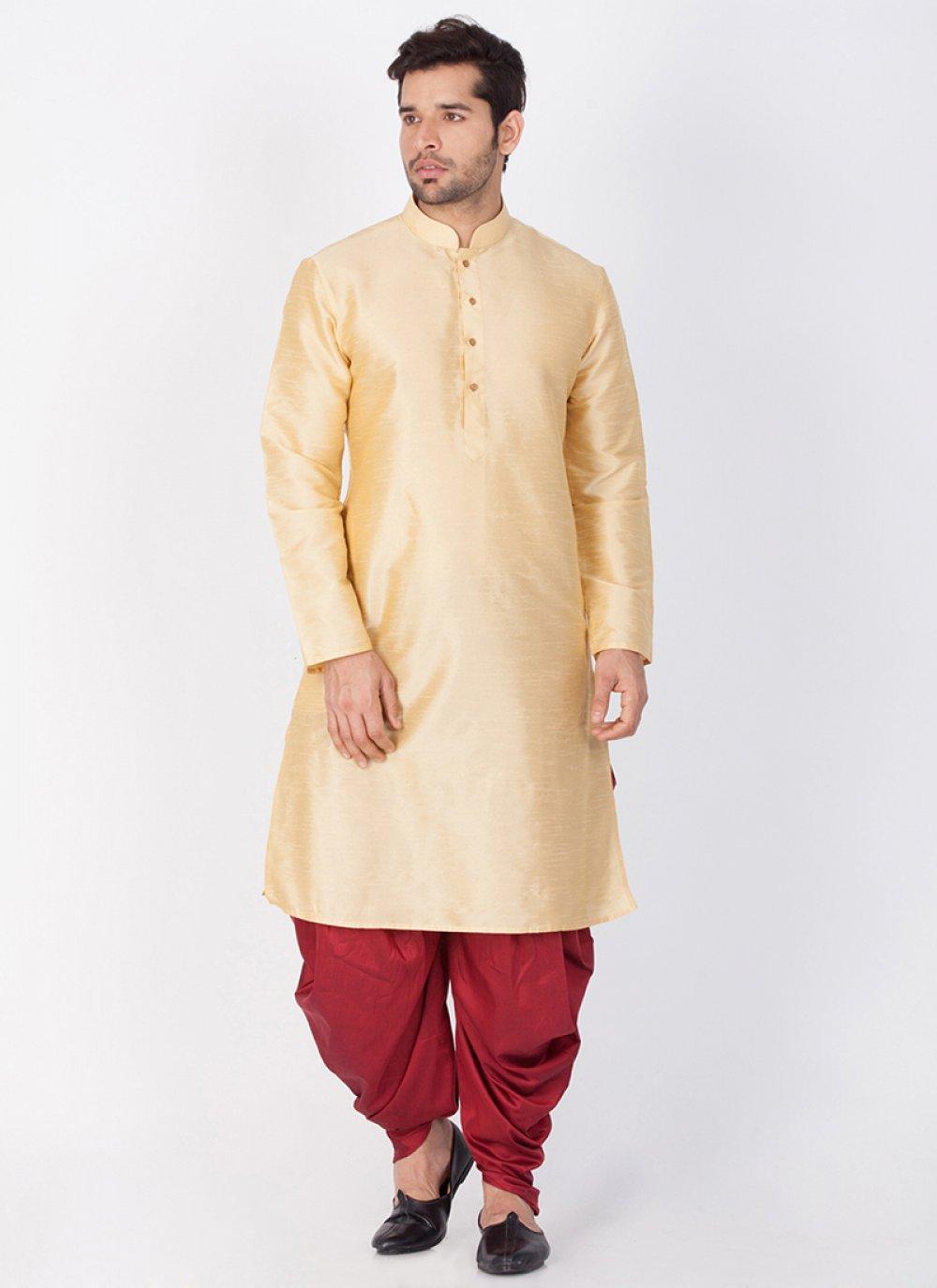Gold Art Banarasi Silk Wedding Dhoti Kurta