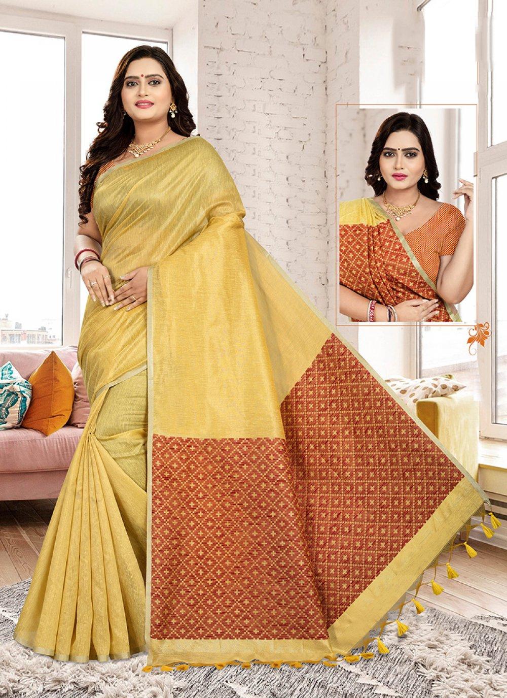 Gold Art Silk Cotton Designer Traditional Saree