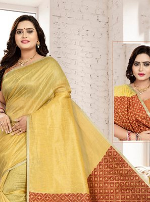 Gold Art Silk Cotton Designer Traditional Saree