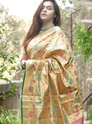 Gold Art Silk Party Classic Designer Saree