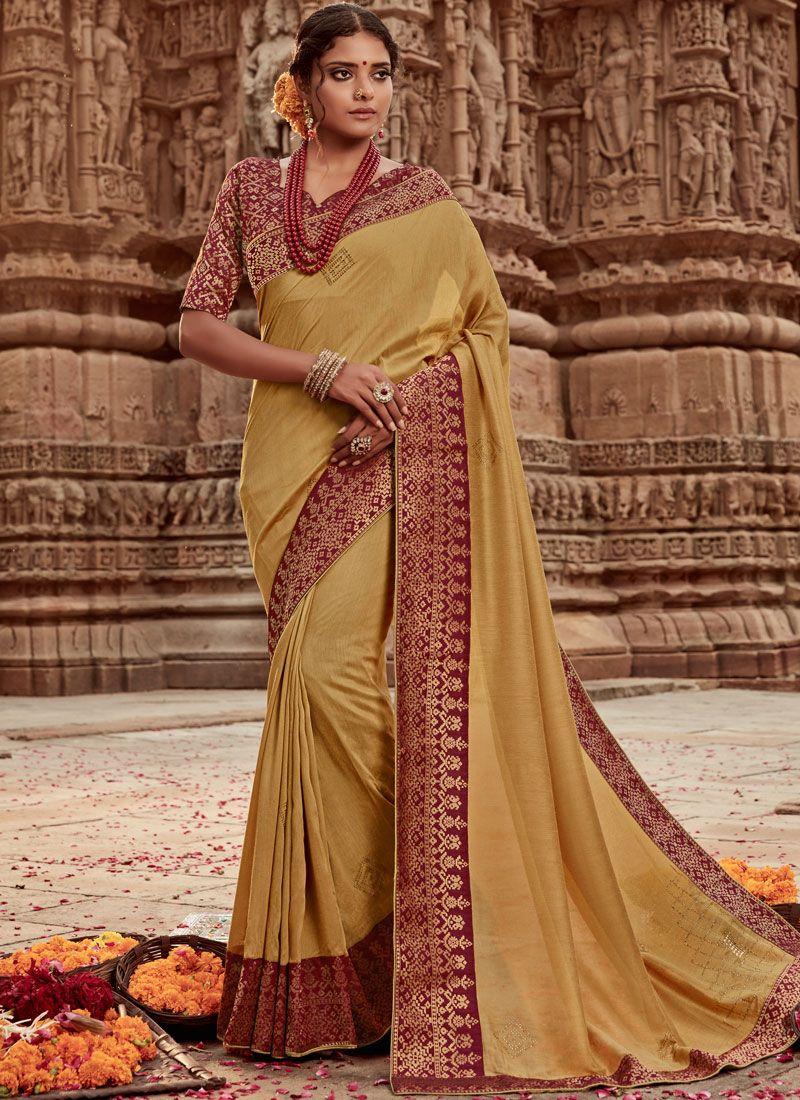 Gold Border Art Banarasi Silk Designer Traditional Saree