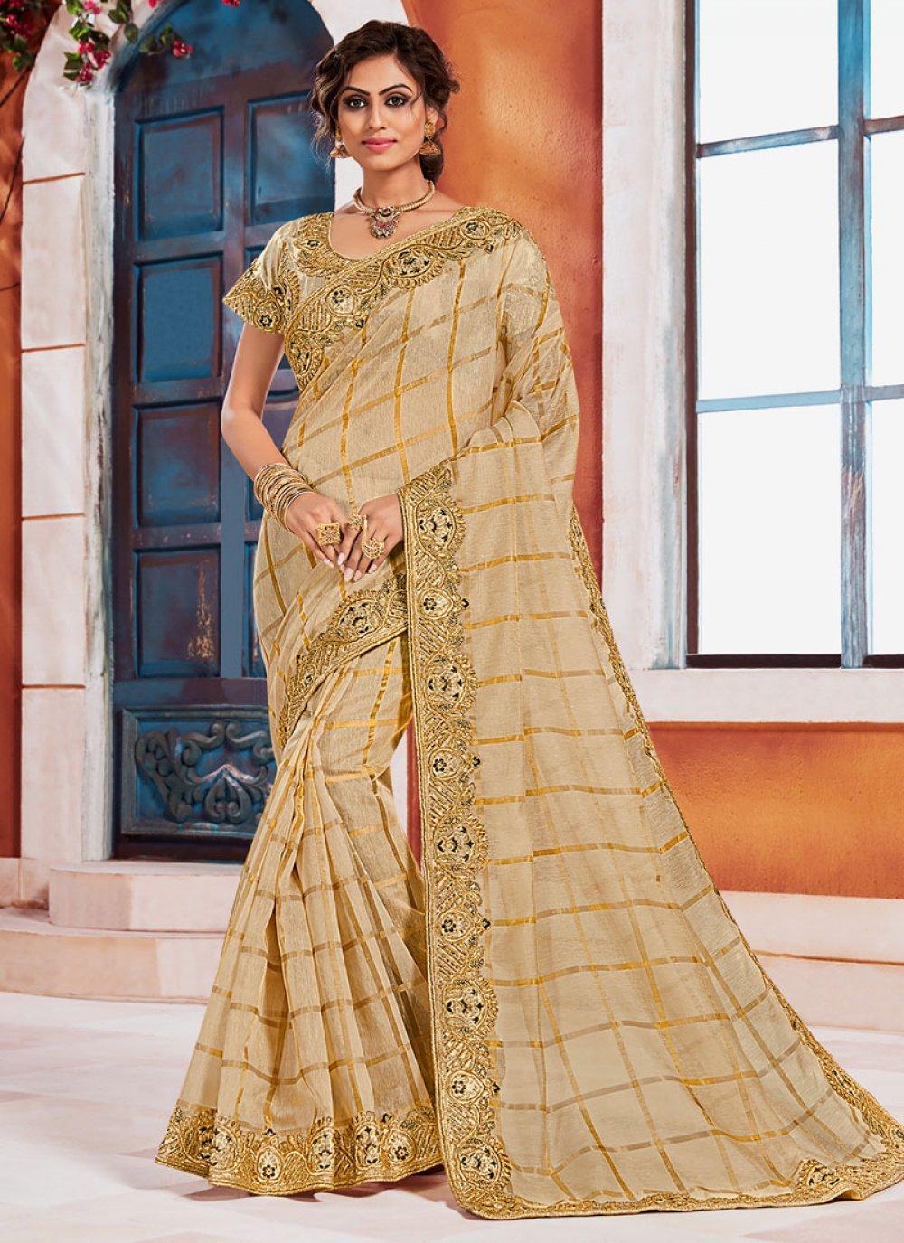 Gold Color Designer Saree