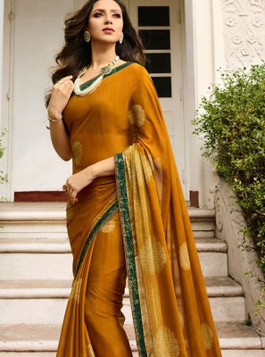 Gold Color Printed Saree