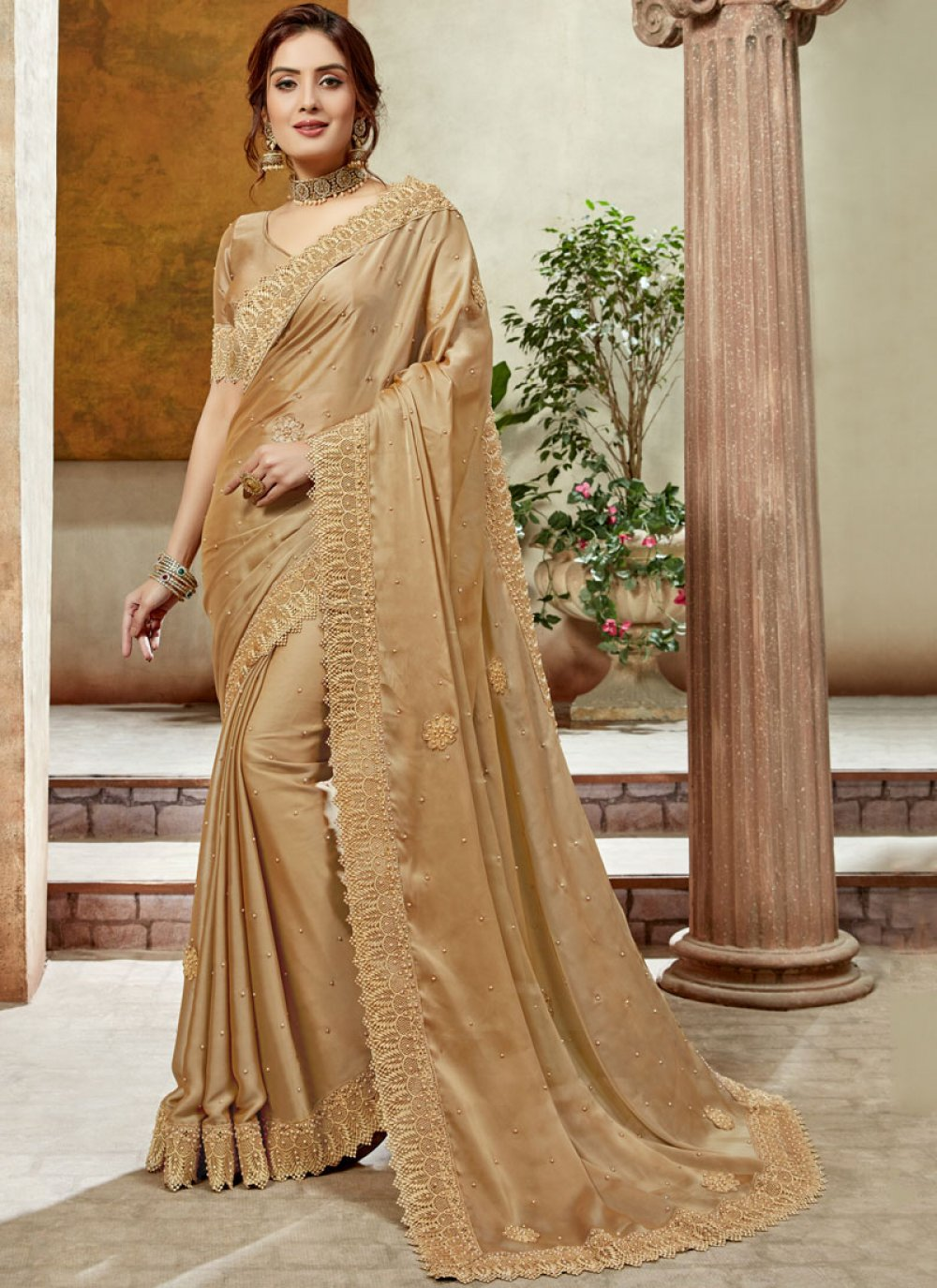 Gold Color Trendy Saree