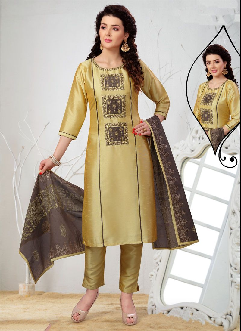Gold Embroidered Art Silk Readymade Suit