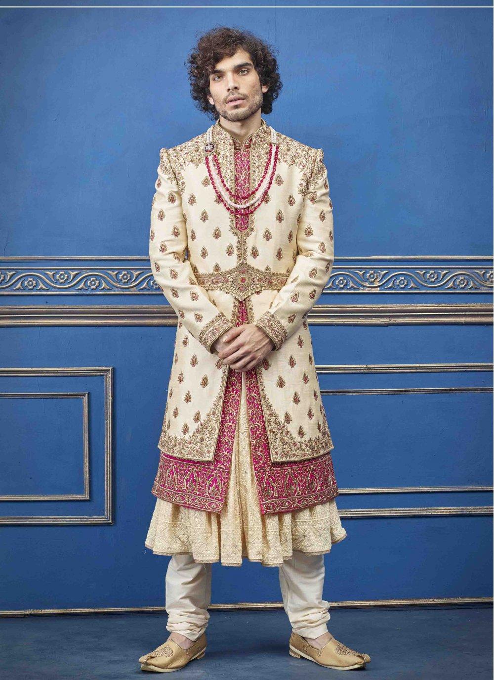 Gold Embroidered Pure Silk Sherwani