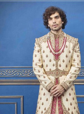 Gold Embroidered Pure Silk Sherwani