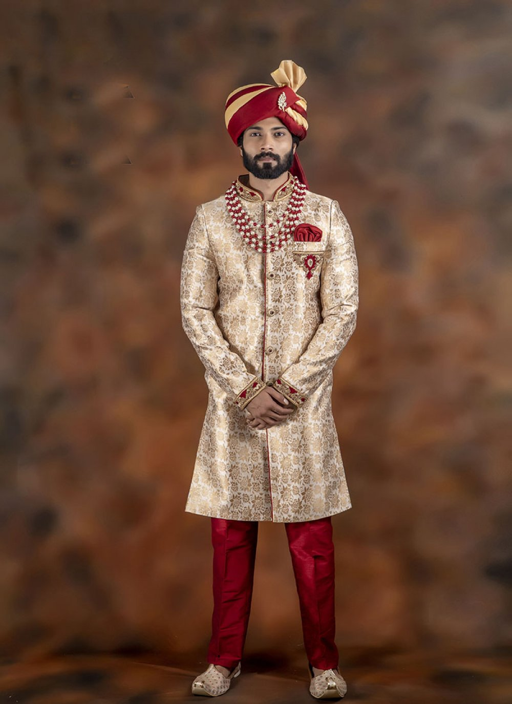 Gold Embroidered Sangeet Indo Western Sherwani