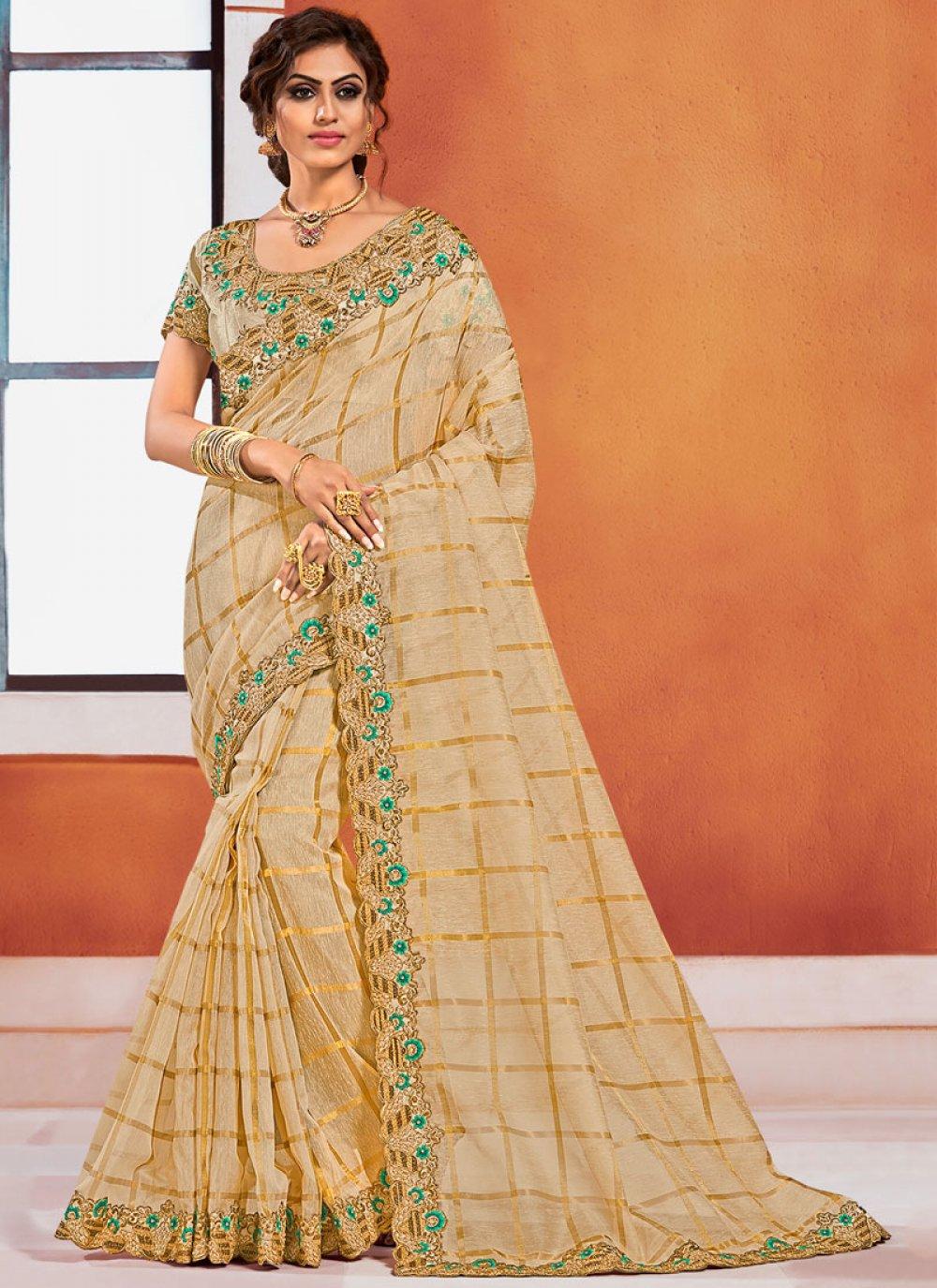 Gold Embroidered Silk Classic Designer Saree