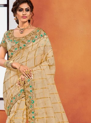 Gold Embroidered Silk Classic Designer Saree