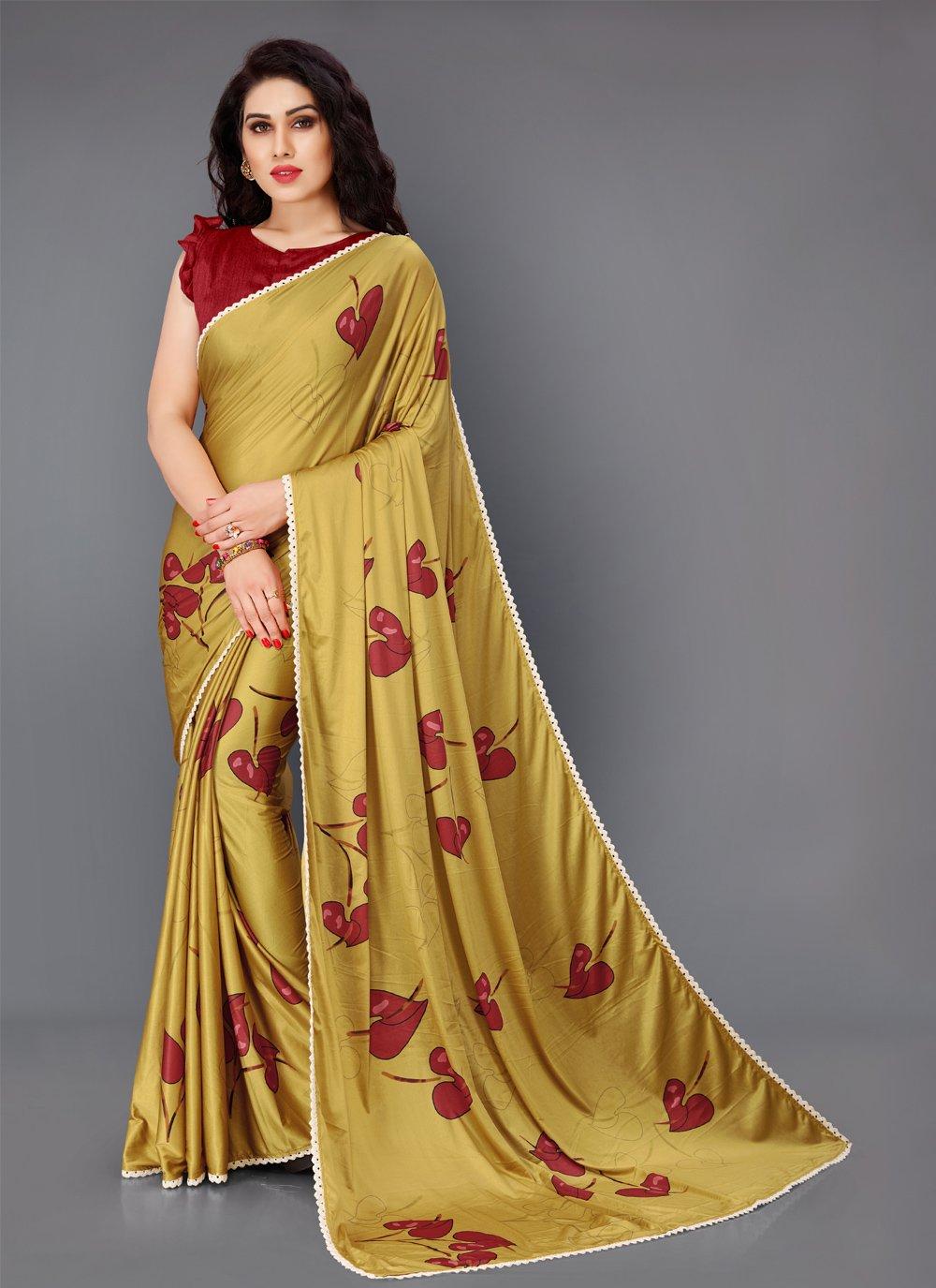 Gold Floral Print Lycra Trendy Saree