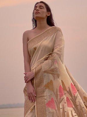 Gold Linen Trendy Saree