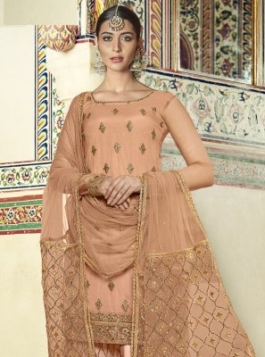 Gold Net Zari Designer Palazzo Suit