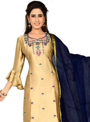 Gold Party Georgette Satin Designer Salwar Kameez