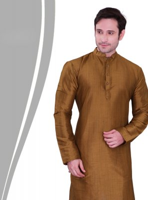 Gold Plain Engagement Kurta Pyjama