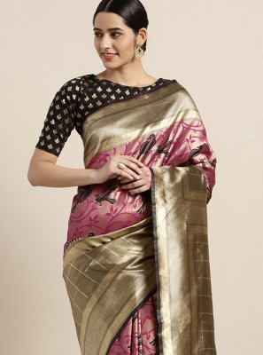 Gold Printed Art Silk Printed Saree